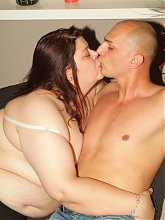 Experienced plumper Louise uses her pair of huge tits to seduces our guy into filling her holes